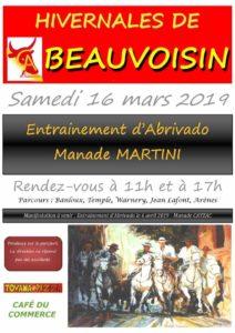 Beauvoisin : entraînement d'Abrivado Manade Martini