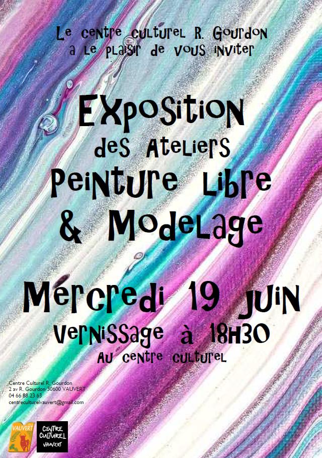Exposition des ateliers de peinture libre & modelage @ Centre Culturel Robert Gourdon