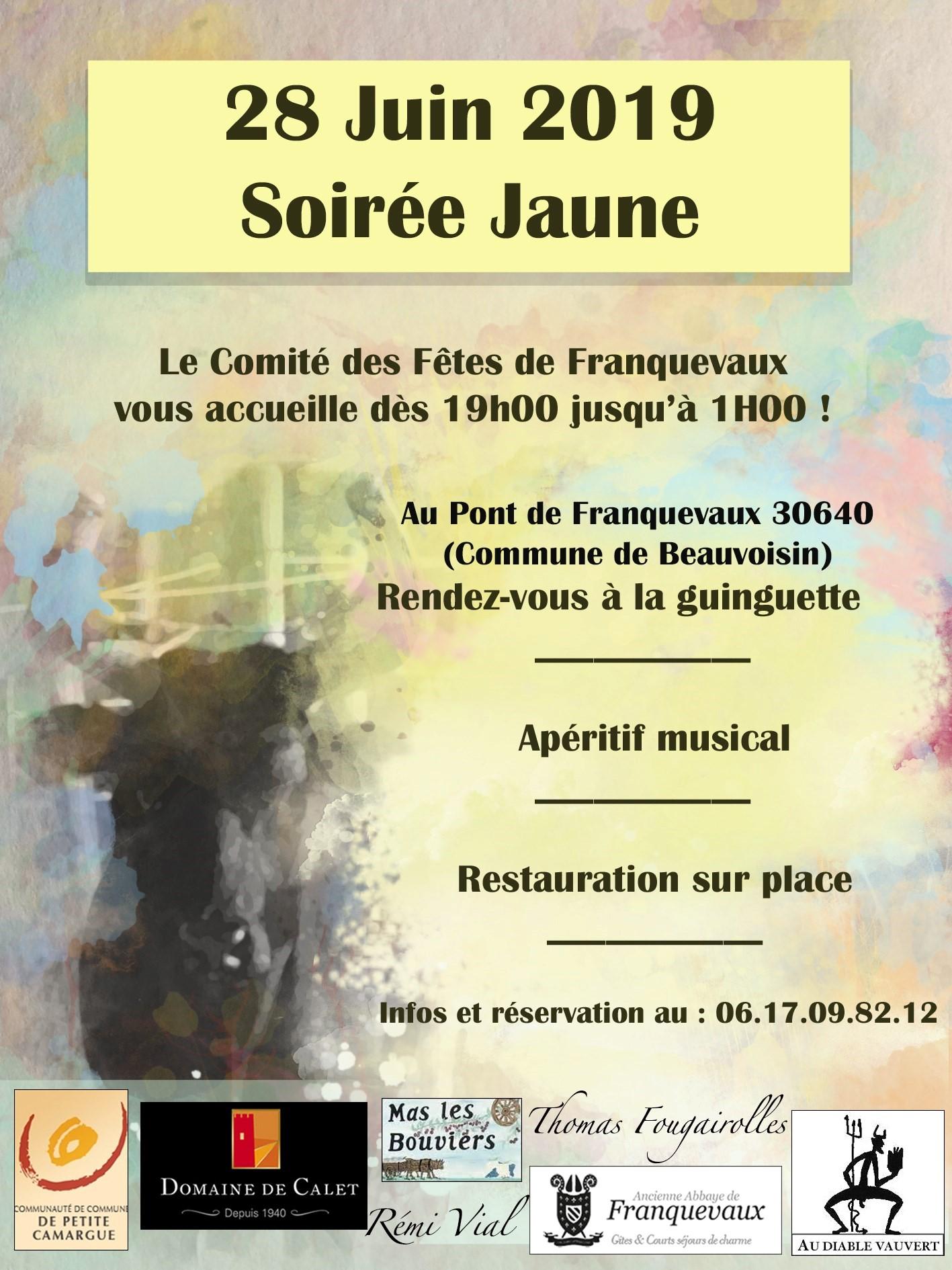 Soirée Jaune du CDF de Franquevaux @ Pont de Franquevaux, Guinguette