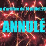 Le feu d'artifice du 14 juillet est annulé