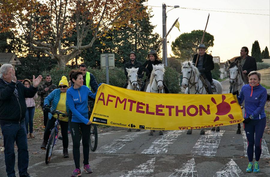 """Téléthon Force """"B"""" au départ à Franquevaux."""