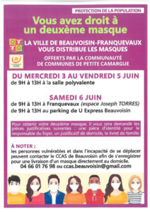 Beauvoisin Franquevaux : distribution d'un deuxième masque @ Beauvoisin Franquevaux