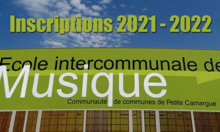 Inscriptions des nouveaux élèves à l'école de musique Rentrée 2021/2022