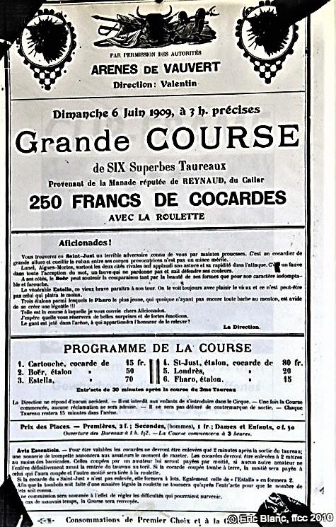 Affiche de la Grande Course en 1909 à Vauvert