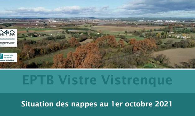 VISTRE VISTRENQUE : LA SITUATION DES NAPPES AU 1ER Octobre 2021